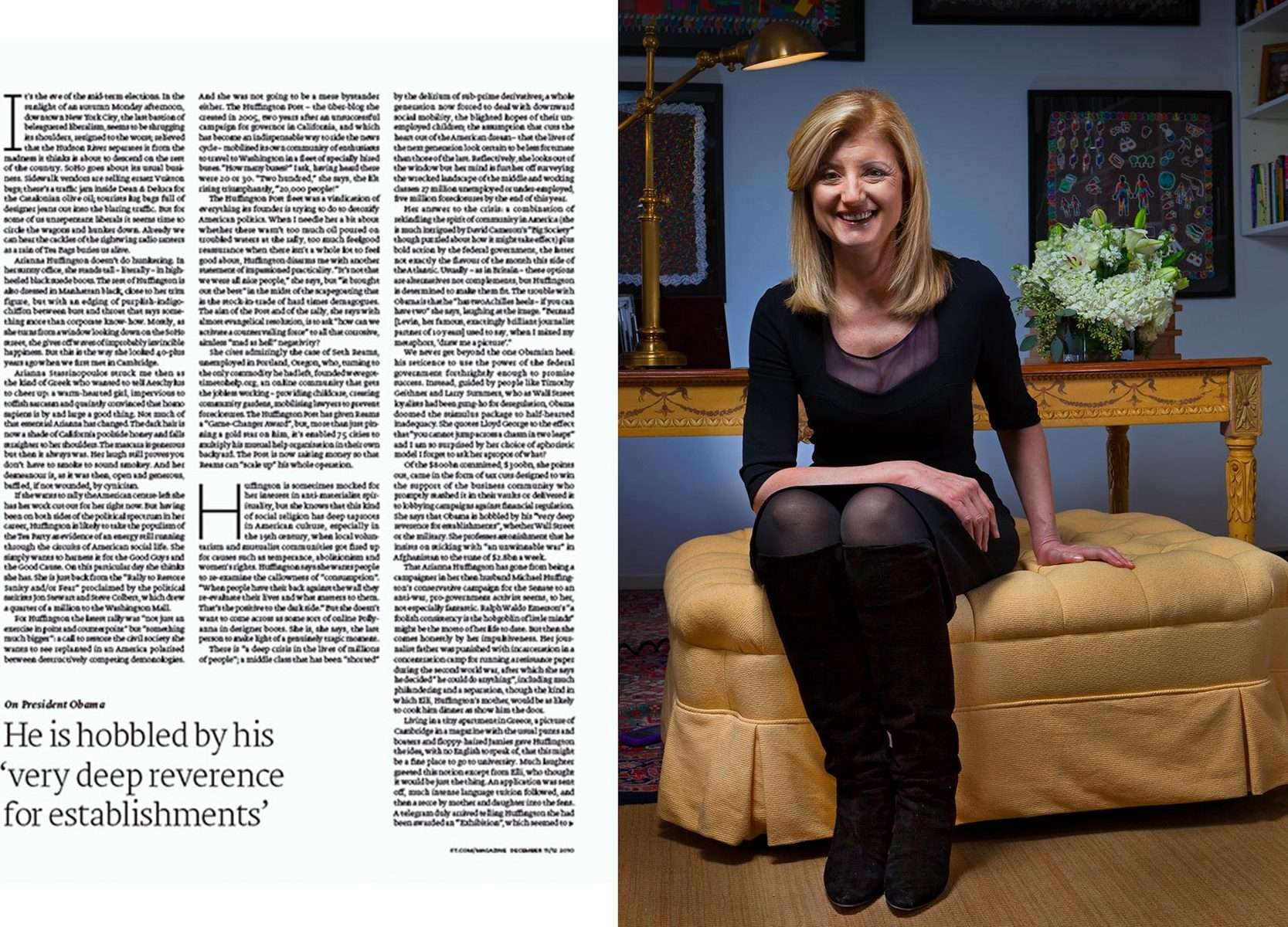 Arianna Huffington for a feature story in FT Weekend Magazine, London-England : Portraits : NY - Portrait Photographer Video, Architectural, Corporate Editorial Location Photography
