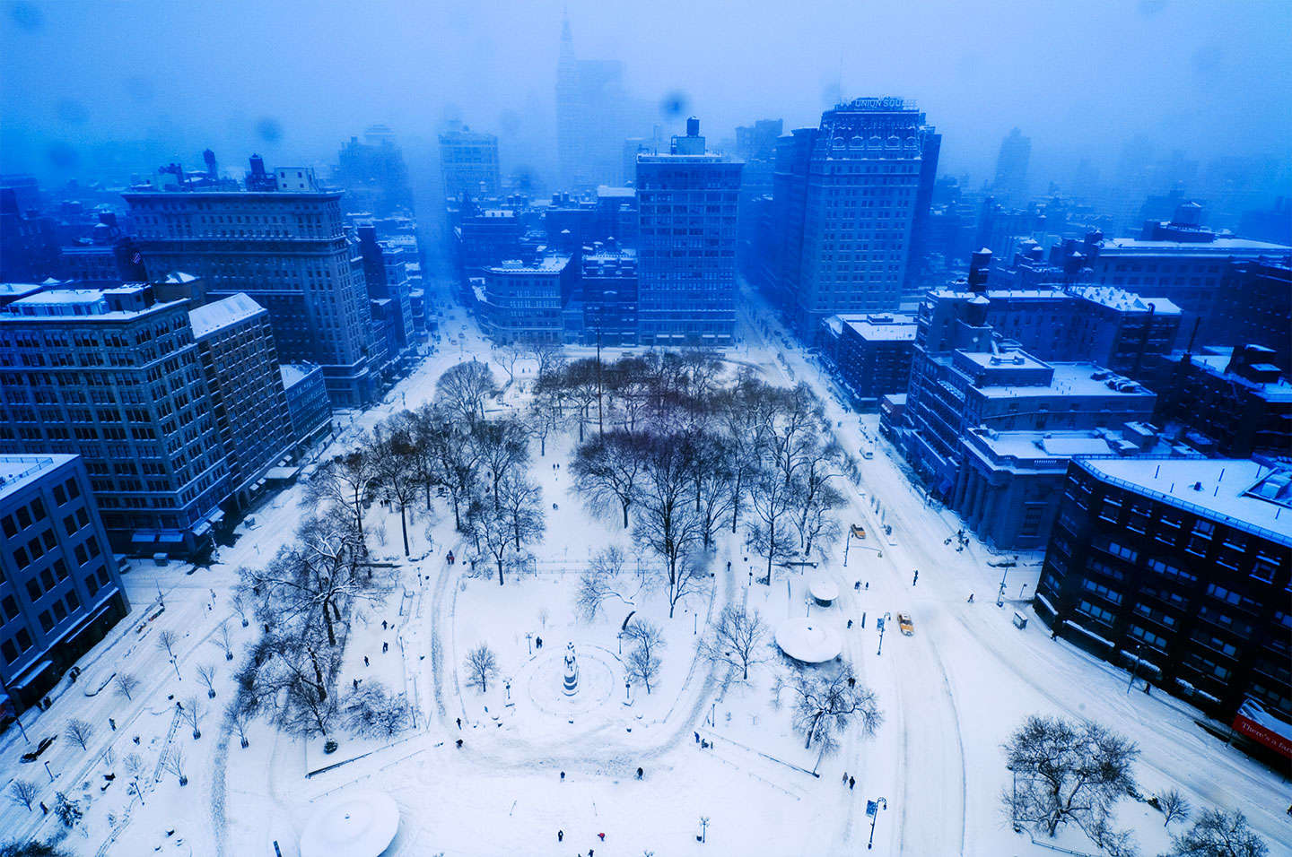 Snow in Union Square NYC ... available for stock. : On The Road : NY - Portrait Photographer Video, Architectural, Corporate Editorial Location Photography