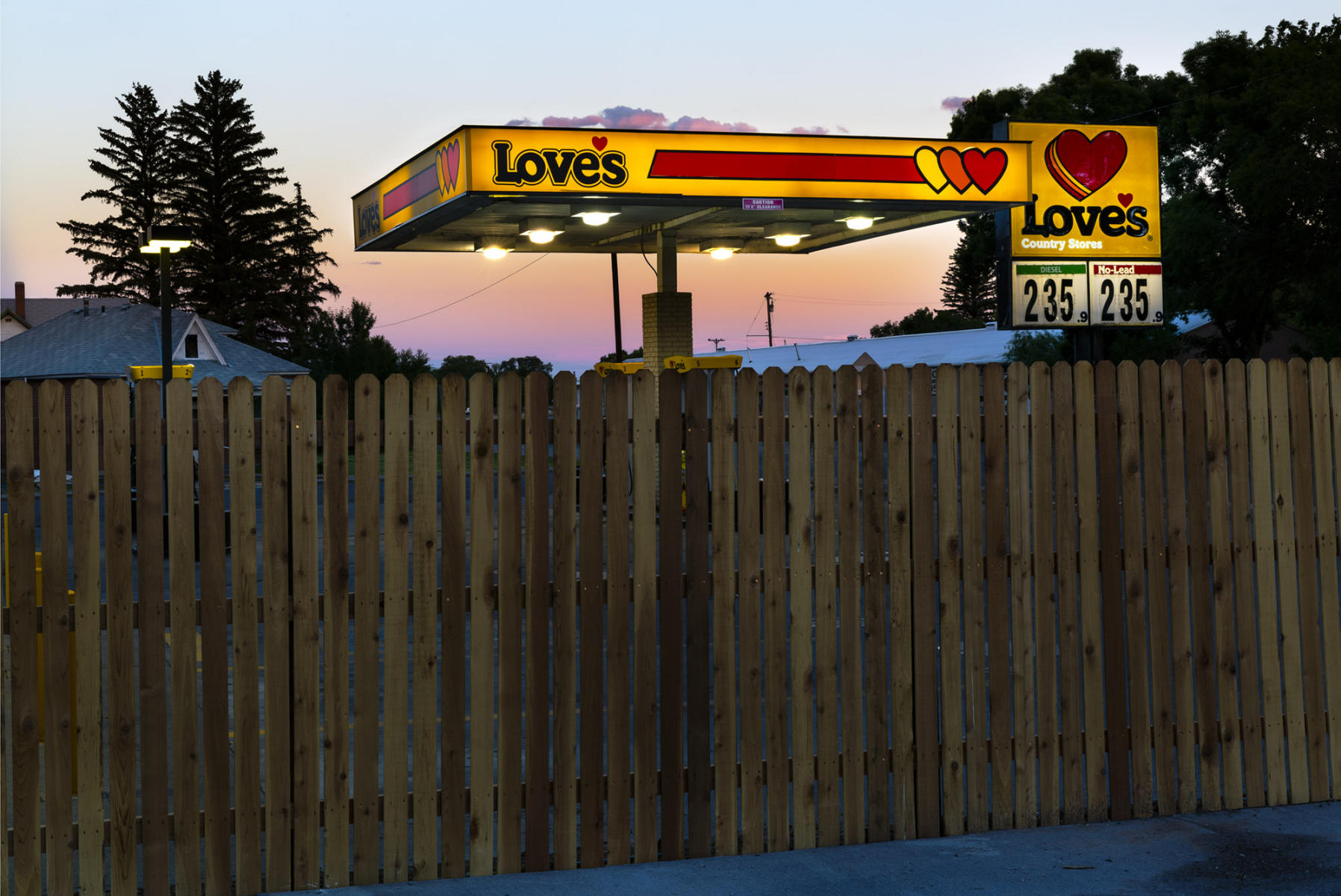 View of Love's gas station from the parking lot of the hotel in Monte Vista, CO. : Visiting Mom : NY - Portrait Photographer Video, Architectural, Corporate Editorial Location Photography