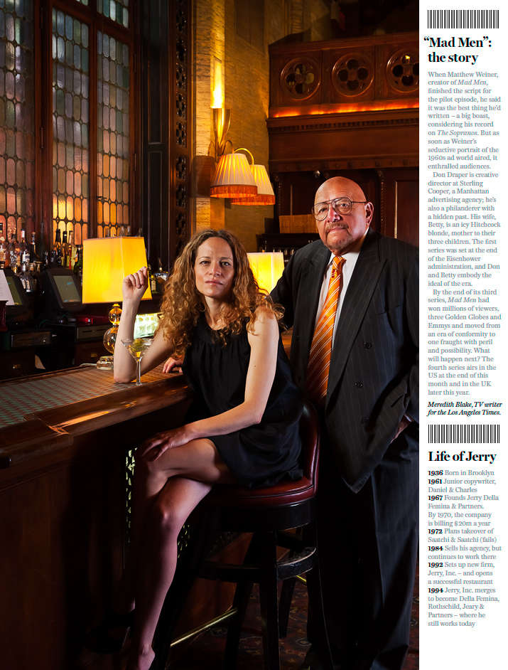 "Cover story for FT Weekend, London - The man whom the TV series ""Mad Men"" was based on; Jerry Della Femina with New York Mag. writer Katie Roiphe photographed at the Campbell Apts., Grand Central Station, NYC : Portraits : NY - Portrait Photographer Video, Architectural, Corporate Editorial Location Photography"