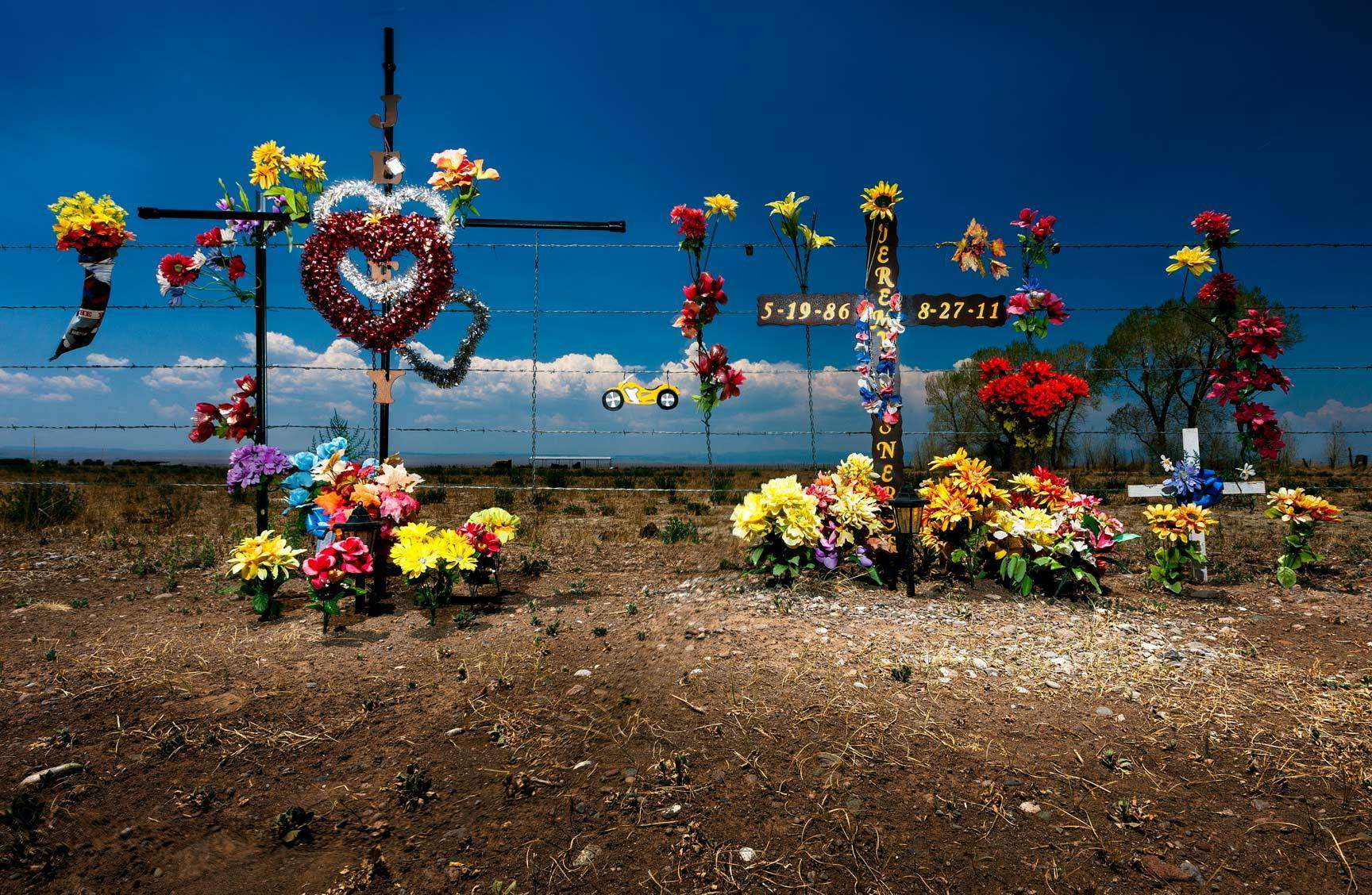 A lot of roadside accidents in Colorado - New Mexico... saw a lot of this markers for loved ones while traveling on the highways. : Visiting Mom : NY - Portrait Photographer Video, Architectural, Corporate Editorial Location Photography