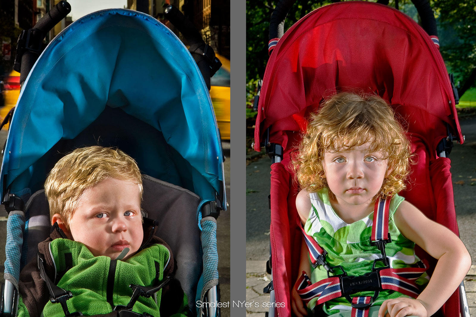 children of New York City from a series titled Smallest NYer's utilizing their strollers as the backdrop for color : Portraits-Keywording : NY - Portrait Photographer Video, Architectural, Corporate Editorial Location Photography